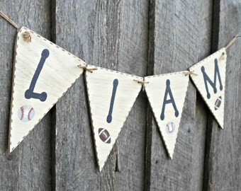 Sports Banner, Wood Pennant Banner, Sports Nursery Decor, Sports Boys Bedroom Decor, Rustic Flag Banner, Boys Name Sign