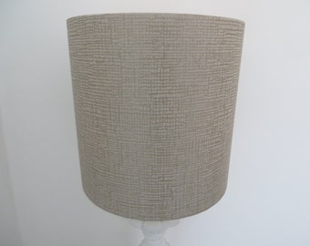 SALE - LAMPSHADE - Shimmery taupe and gold print wallpaper drum lampshade
