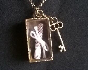 "Antique gold secret locked box and key 24"" necklace"
