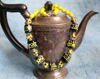 Funky, Fun and Playful Black and Yellow Lampwork Bead Necklace