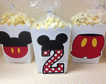 Mickey Mouse Party Popcorn or Favor Boxes - Set of 10