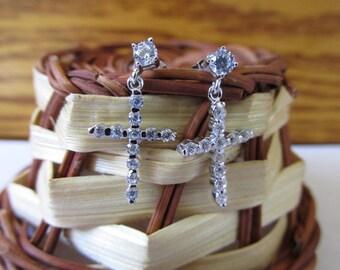 White Gold Over Sterling Silver CZ Cross Earrings