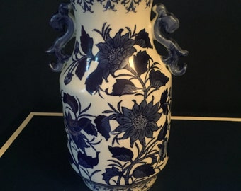 Vintage Chinoiserie Vase Blue and White Decor