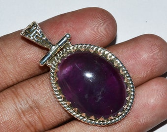 Purple Amethyst Pendant, Gemstone Pendant, 25.70x19.50 mm, Necklace Pendant, February Birthstone Pendant, 925 Sterling Silver, Oval Pendant