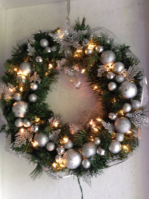 Silver lighted Christmas wreath Christmas wreath lighted