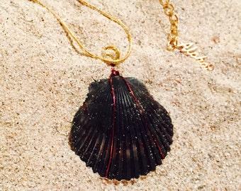Black Scallop Seashell Pendant