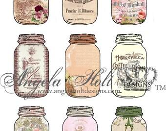 Mason Jar Vintage Chic Printable Pocket/ATC/Tag 1 sheet