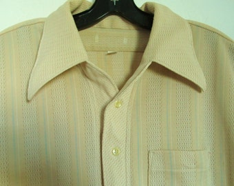 A Mens Vintage 60s Beige Short Sleeve CASINO/WISE GUY Type Shirt.xl