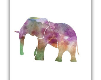 Elephant Print, Printable Art, Nursery Print, Elephant Art, Watercolor Animals