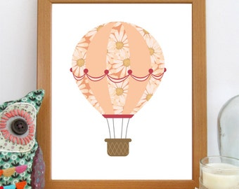 Hot Air Balloon Print, Nursery Printable, Girls Room Decor, Baby's Room Print, Printable Art