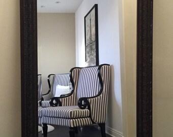 """Elegance Ornate Embossed Wood Framed Floor Mirror Bronze 31"""" x 67"""""""