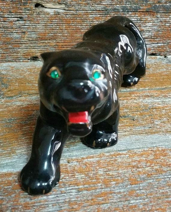 Vintage ceramic black panther figurine ceramic cat figurine - Ceramic black panther statue ...