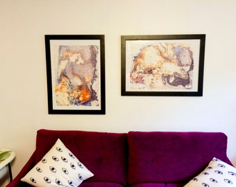 Set of Two Large Abstract Paintings - Set8
