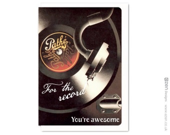 For the record. You're awesome : Greeting card VTG047