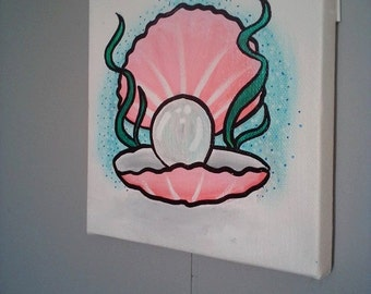 Pearl Oyster Canvas Painting