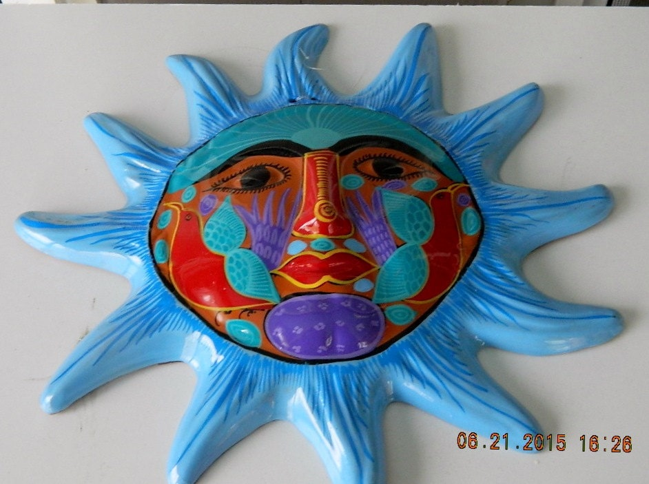 Terra Cotta Sun Face Wall Plaque Folk Art Hanging Plaque