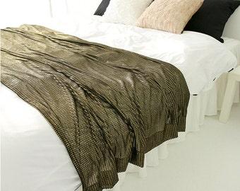 Black Sheer with Gold Glitter Bed Runner