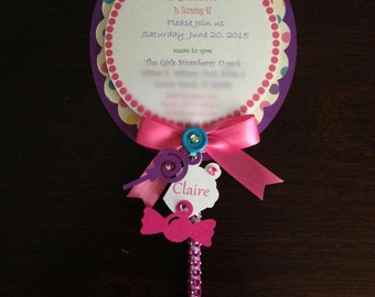 20 Lollipop Invitation with envelopes/Birthday Girl/Candyland party theme