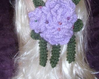 Hair clip, Hand Crocheted Big Flower Hair Clip,hair accessory,crochet hair accessory,big hair accessories, boho hair accessory