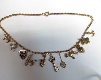 Estate 14k Gold Charm Necklace