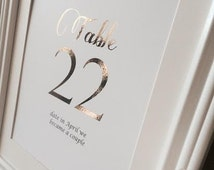 Custom Table Numbers, Gold Foil Table Numbers, Destination Table Cards, Personalized Wedding Table Numbers, Wedding Center Piece, Wedding