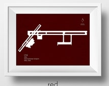 ITO Hilo International Airport in Hilo Hawaii USA Runway Silhouette Modern Wall Art