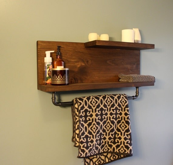 Rustic Industrial Floating Bathroom Wall Shelf With Pipe Towel