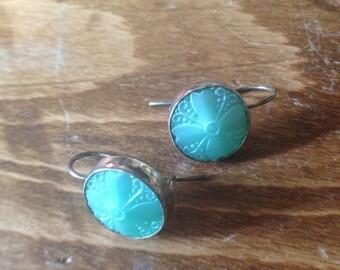 BAKELITE - Beautiful Blue Vintage Bakelite Button and Sterling Silver Earrings