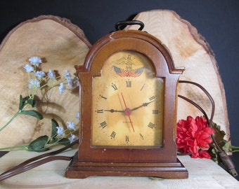 Gilbert Clock Co. Carriage Clock, Americana Eagle Theme, 1940's Working Vintage Collectible Clock