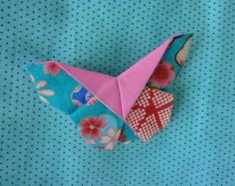 Barrette paillon in Japanese fabric origami