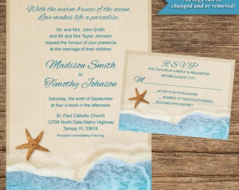 Beach Invitation and Respond Card BCH-2A-INV-RC-Digital Download