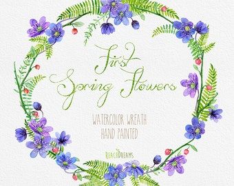 Watercolor Flower Wreath with First Spring Flowers. Individual PNG files. Hand Painted Wedding wreath