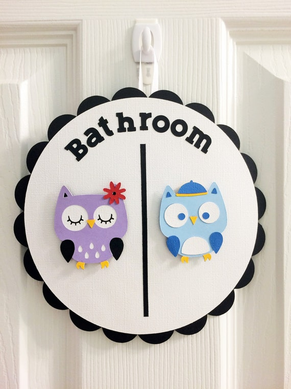 Cute funny owl theme bathroom signs - Owl themed bathroom decor ...