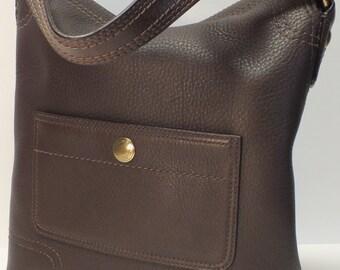 Vintage Coach hobo brown grain leather MINT