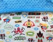 """Superhero Minky Blanket - Boy Minky Blanket - Double Sided Minky - 30"""" X 35"""" - Stroller Blanket -  Minky Baby Blanket - Minky Floor Blanket"""