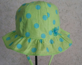 Baby Sun Hat Polka Dot- Size 6-9 Months