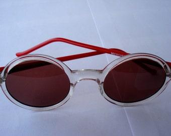 Vintage Retro Sunglasses Eschenbach/ Vintage 1980s Style, Watery-Red Color Plastic Sunglasses