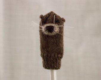 Sea Otter Finger Puppet   Handknit   Wool