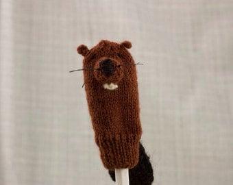 Beaver Finger Puppet   Handknit   Wool