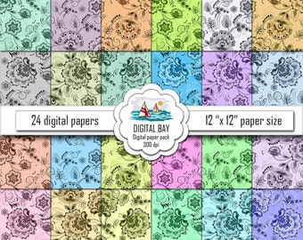 "FLORAL PAPER PACK - Digital paper pack – Instant download - Scrapbook Paper – Seamless - 12"" x 12"" - Commercial use –Digital background"