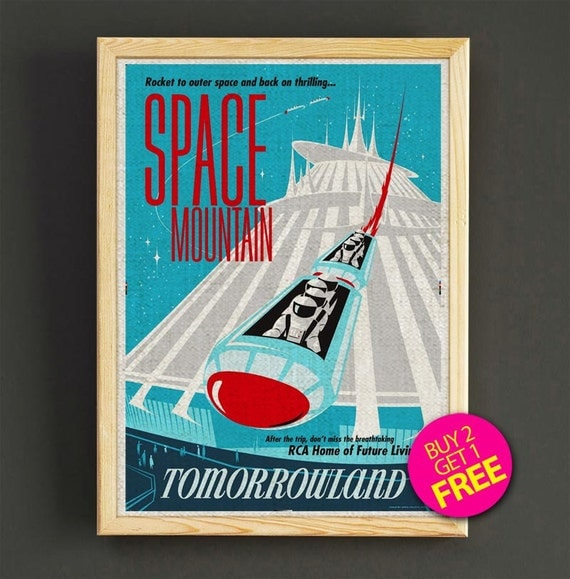 Disney Poster Disneyland Vintage Space Mountain by Star2Go ...