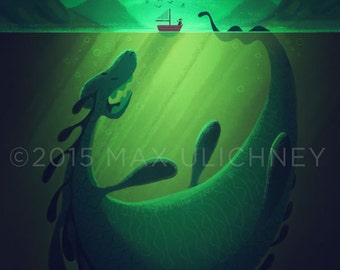 Painting Loch Ness Monster Nessie Giclee Art Print