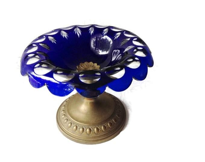 Bohemian Czech Cobalt Cut to Clear Glass Bowl with Brass Pedestal