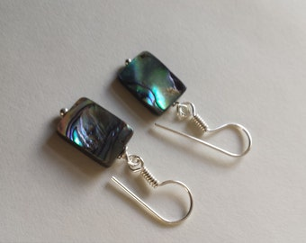 Abalone Shell Pearl Earrings with Silver Plated Shepherd Hooks