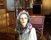 Hand knit hat hoodie, cowl, hoodie, knit hoodie, knit hat, art yarn, hand spun, felted roses, lace, hoodie, hat, cowl, pink, greens, ivories