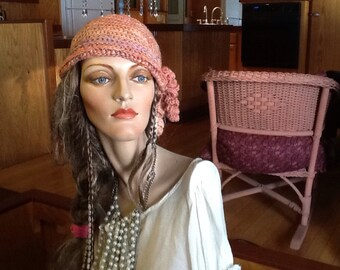 Crochet hat, crocheted  cloche hat, hand spun, cloche hat, art yarn, light orange, wool, flapper hat, womens hat, 1920's style