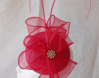 Pink Fascinator with diamante / diamond detail