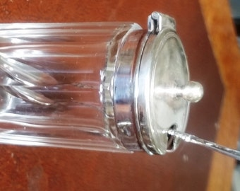 Silver Plated Mustard Pot & Spoon