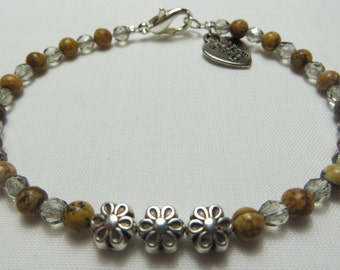 Picture Jasper, Czech Glass and Silver Plated Flower Charm Beaded Pixie Bracelet