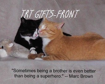 Brotherly Love postcard (4.25 x 5.5 inches)*cats*cheap shipping